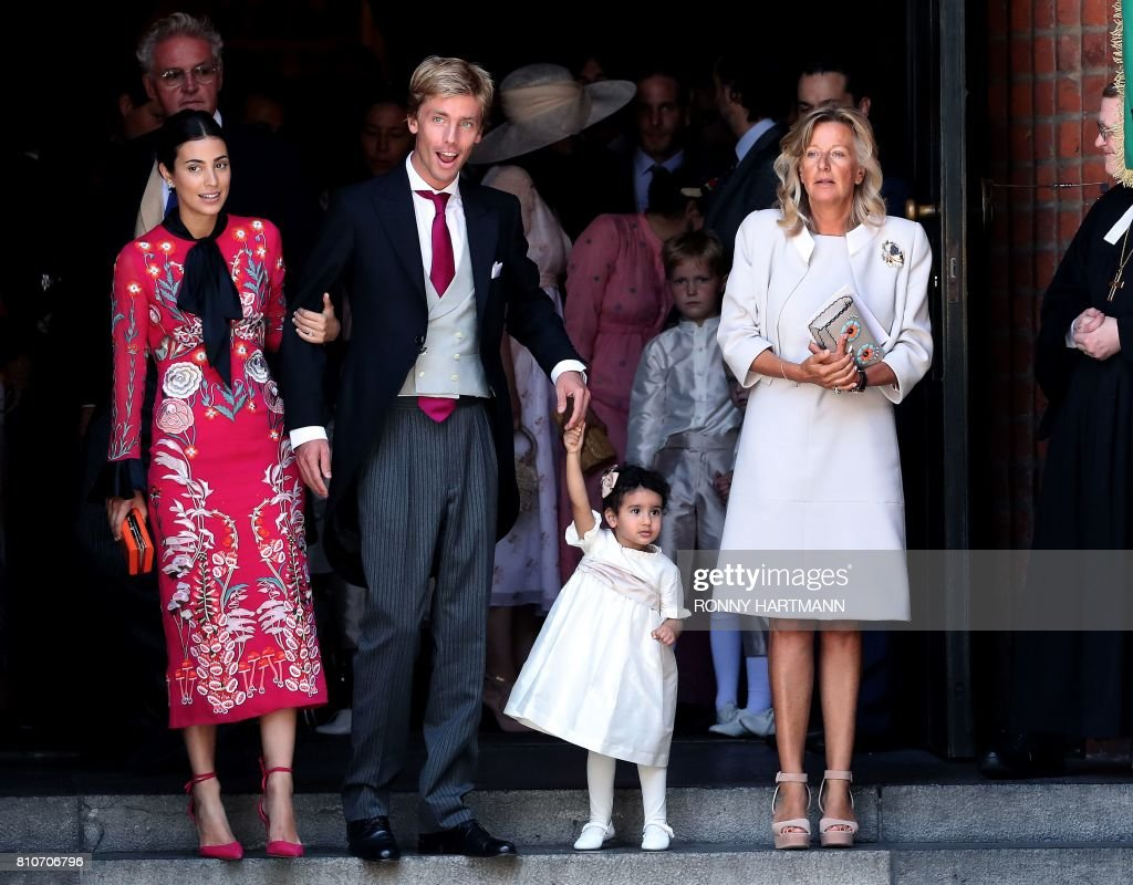 Prince Christian (2nd L) of Hanover, his wife Alessandra de Osma (L) and Chantal Hochuli (R) leave after the church wedding of Prince Ernst August of Hanover and Ekaterina of Hanover in Hanover, central Germany, on July 8, 2017. Prince Ernst August of Hanover did not give in to the injunctions of his father and married his fiancee Ekaterina Malysheva, a fashion designer of Russian origin. /
