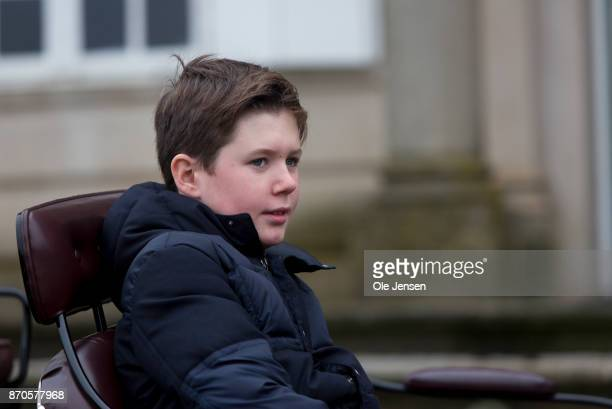 Prince Christian seen in the royal coach at the yearly Hubertus Hunt at The Woodland Park 'Dyrehaven' on November 5 2017 in Klampenborg Denmark Some...