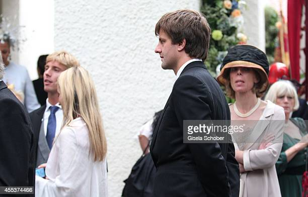 Prince Christian von Hannover and his brother Ernst August von Hannover jr attends the wedding of Maria Theresia Princess von Thurn und Taxis and...