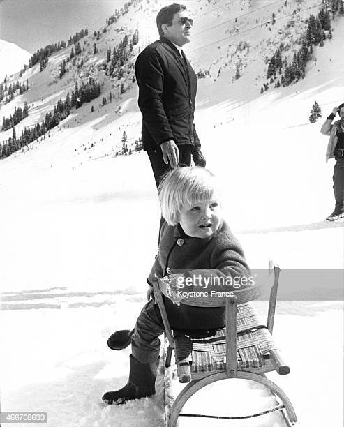 Prince Claus of Netherlands with eldest son Prince Willem Alexander at winter holiday on March 13 1970 in Lech Austria
