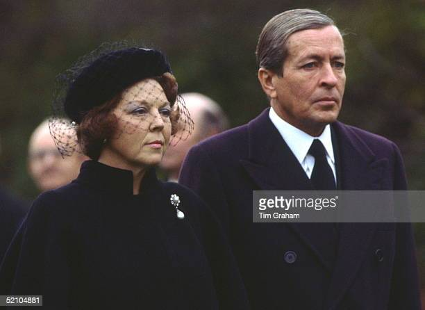 Prince Claus Of Netherlands With His Wife Queen Beatrix At The Funeral Of Princess Grace Of Monaco