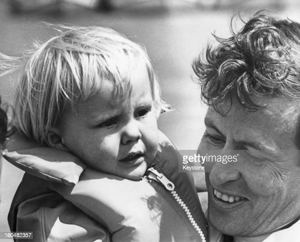 Prince Claus of the Netherlands with his eldest son, Willem-Alexander, Prince of Orange, during a yachting trip on the Zuiderzee, Netherlands, 8th...