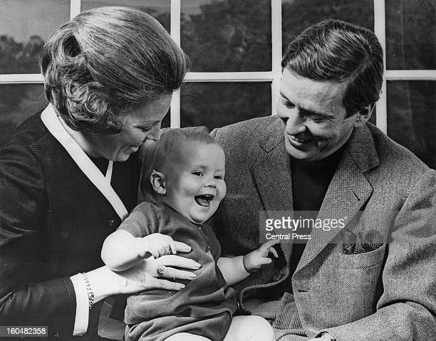 Prince Claus of the Netherlands with Princess Beatrix and their son Willem-Alexander, Prince of Orange, at their home at Drakesteijn, Netherlands,...