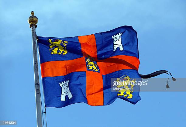 Prince Claus' personal flag flies with a black banner indicating a death in the royal family on the roof of Noordeinde Palace October 8 2002 in The...