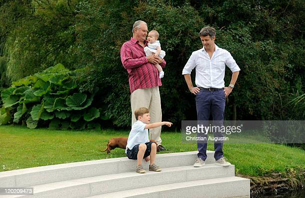 Prince Consort Henrik of Denmark Crown Prince Frederik Prince Christian and princess Josephine Sophia Ivalo Mathilda pose during a photocall at...