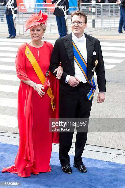 Prince Constantijn and Princess Laurentian of the Netherlands arrive at the Nieuwe Kerk in Amsterdam for the inauguration ceremony of King Willem...