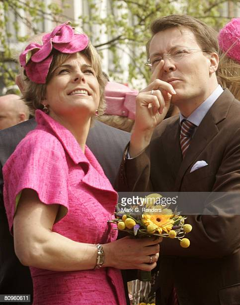 Prince Constantijn and Princess Laurentien from the Dutch Royal Family greet the crowd on Queensday April 30 2008 in Franeker The Netherlands