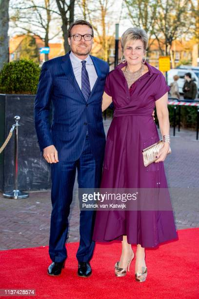 Prince Constantijn of The Netherlands and Princess Laurentien of The Netherlands arrive at Theater De Flint for the Kingsday Concert on April 15 2019...