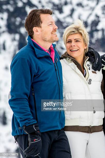 Prince Constantijn of The Netherlands and Princess Laurentien of The Netherlands during the annual photo call on February 25, 2020 in Lech, Austria.