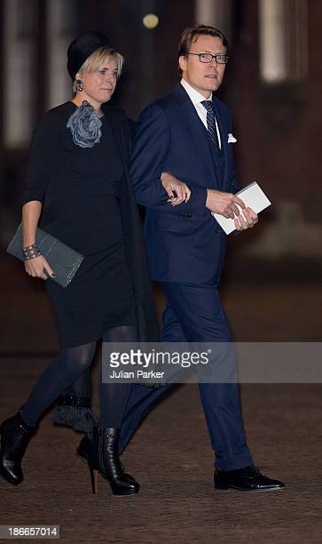 Prince Constantijn of the Netherlands and Princess Laurentien of the Netherlands leave a memorial service for Prince Friso of The Netherlands who...