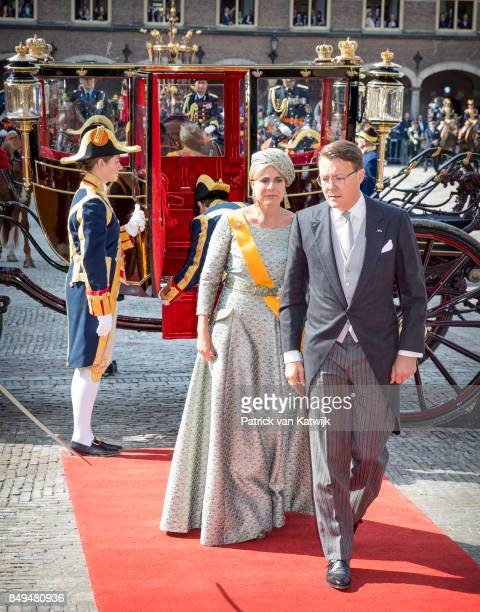Prince Constantijn of The Netherlands and Princess Laurentien of The Netherlands arrive at the Ridderzaal with the Glass Coach during Prinsjesdag on...