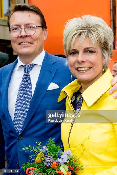 Prince Constantijn of The Netherlands and Princess Laurentien of The Netherlands during the Kingsday celebration on April 27 2018 in Groningen...