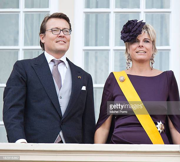 Prince Constantijn of the Netherlands and Princess Maxima of the Netherlands greet from the Noordeinde Palace balcony after attending Budget Day...