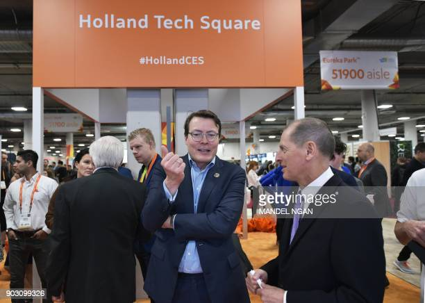 Prince Constantijn of the Netherlands chats with Consumer Technology Association President and CEO Gary Shapiro before the official opening of the...