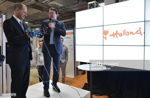 Prince Constantijn of the Netherlands speaks while standing with Consumer Technology Association President and CEO Gary Shapiro at the official...