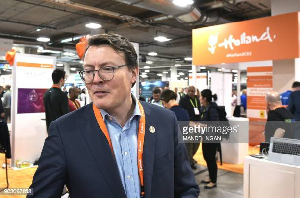 Prince Constantijn of the Netherlands visits the Holland Startup Pavillion in the Sands Convention Hall during CES 2018 in Las Vegas on January 9...