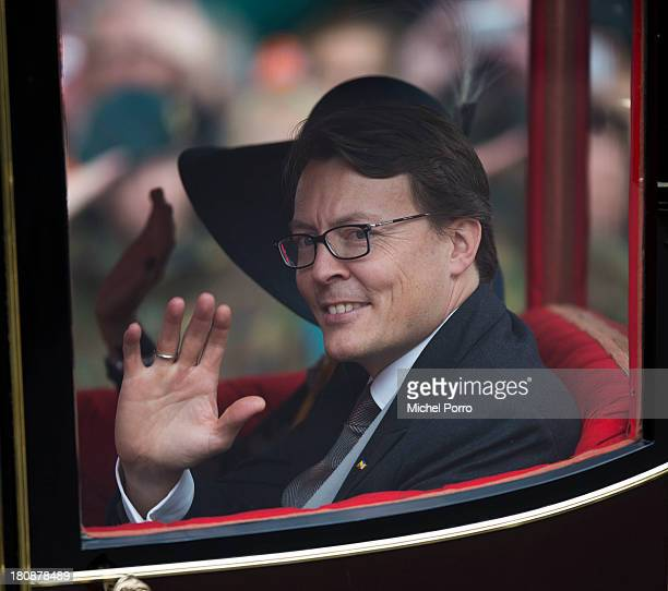 Prince Constantijn of The Netherlands waves during celebrations for Prinsjesdag on September 17 2013 in The Hague Netherlands