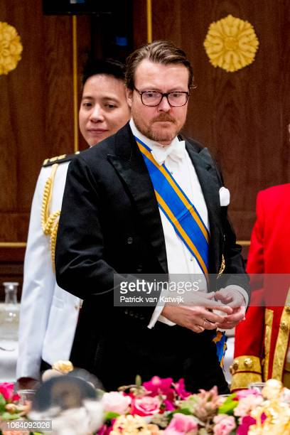 Prince Constantijn of The Netherlands with Halimah Yacob President of Singapore and her husband Mohamed Abdullah Alhabshee during an official state...