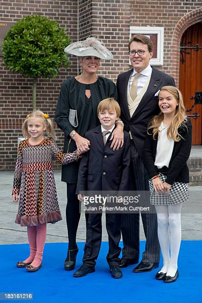 Prince Constantijn Princess Laurentien of the Netherlands and their children Leonore ClausCasimir and Eloise attend the wedding of HRH Prince Jaime...