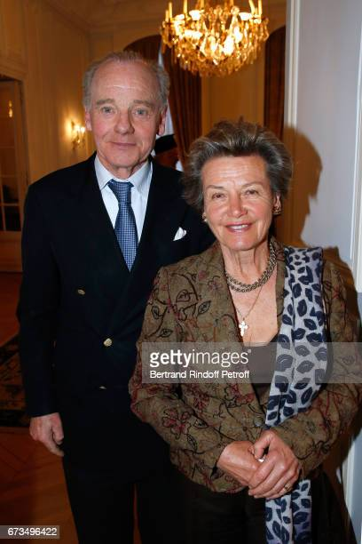 Prince Constantin Mourousy and Princess Suzanne Mourousy attend the presentation of the Book 'Scenes De Crime au Louvre' written by Christos...