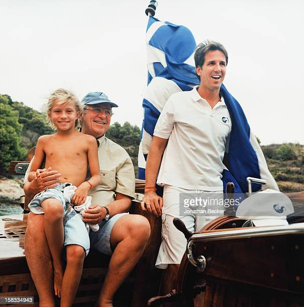 Prince Constantine Alexios, King Constantine II and Prince Pavlos of Greece are photographed for Vanity Fair Magazine on August 24, 2007 on Afroessa,...