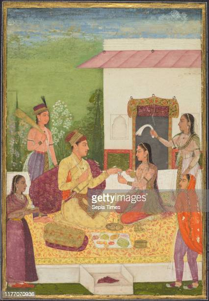 Prince conversing with a woman while taking refreshments on a terrace ; Calligraphy , c. 1710-1720. India, Mughal, 18th century. Opaque watercolor...