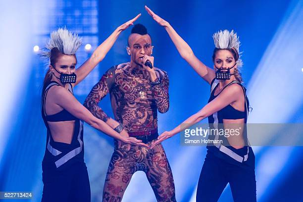 Prince Damien performs during the second event show of the tv competition 'Deutschland sucht den Superstar' at Eberbach Abbey on April 20 2016 in...