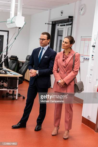 Prince Daniel and Crown Princess Victoria of Sweden visit the ECMO Center at Karolinksa University Hospital on September 30 2020 in Stockholm Sweden...