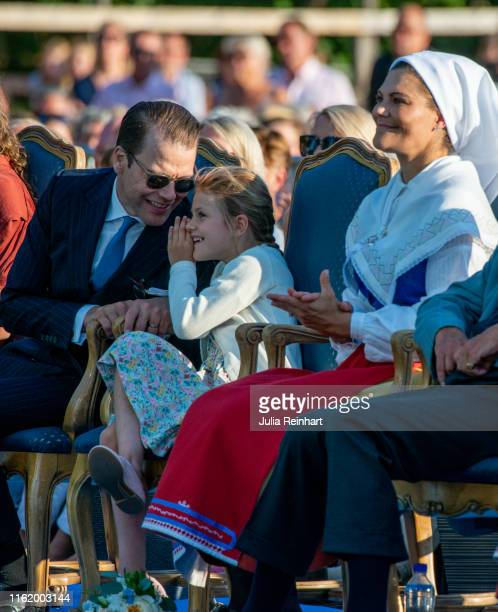 Prince Daniel and his daughter Princess Estelle have a good time at The Crown Princess Victoria of Sweden's 42nd birthday celebrations on July 14...