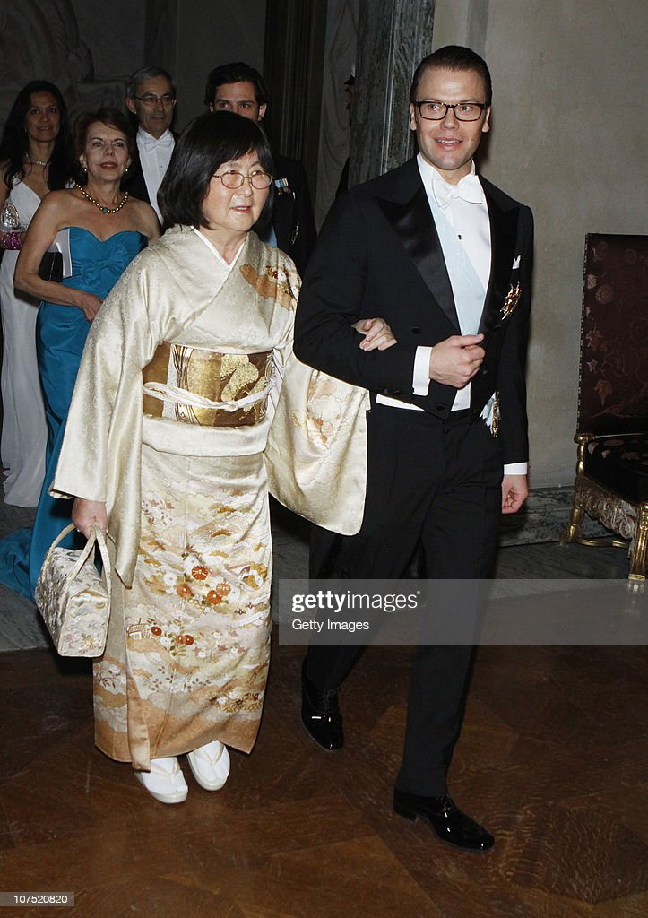 Prince Daniel and Mrs. Sumire Negishi arrive to the Nobel Banquet at the Stockholm City Hall on December 10, 2010 in Stockholm, Sweden. The banquet features a three-course dinner, entertainment and dancing.
