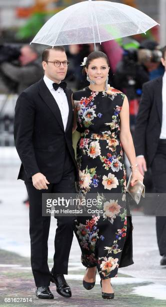 Prince Daniel and Princess Victoria of Sweden are seen arriving at the Opera House on the occasion of the celebration of King Harald and Queen Sonja...