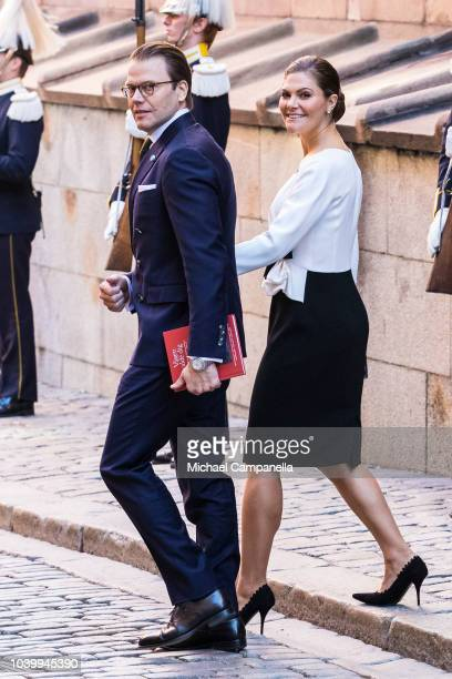 Prince Daniel and Princess Victoria of Sweden attend a church service at the Stockholm Cathedral in connection with the opening of the Swedish...