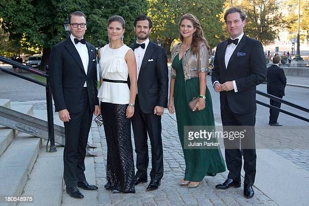 Prince Daniel, Crown Princess Victoria, Prince Carl Phillip, Princess Madeleine and Christopher O'Niell attend the Swedish Government dinner to...