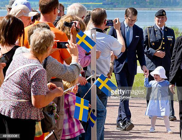 Prince Daniel Duke of Vastergotland and Princess Estelle of Sweden open a Fairytale Path at Lake Takern on May 17 2014 in Mjolby Sweden