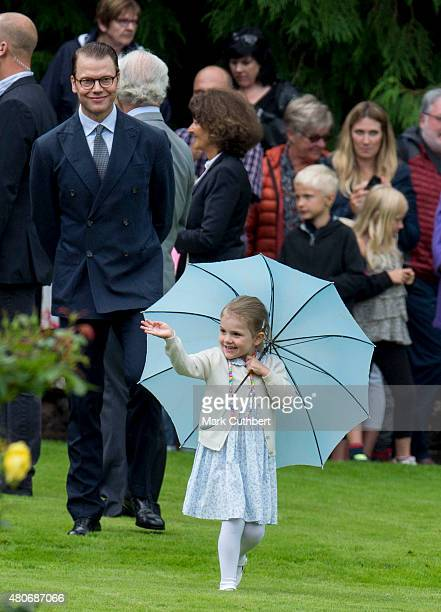Prince Daniel Duke of Vastergotland and Princess Estelle of Sweden at the 38th birthday celebrations for Crown Princess Victoria at Solliden on July...