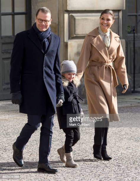 Prince Daniel Duke of Vastergotland and Princess Estelle of Sweden with Crown Princess Victoria of Sweden as she celebrates her name day at The Royal...