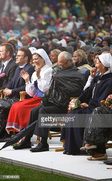 Prince Daniel, Duke of Vastergotland, Crown Princess Victoria of Sweden, King Carl XVI Gustaf of Sweden and Queen Silvia of Sweden attend an event...