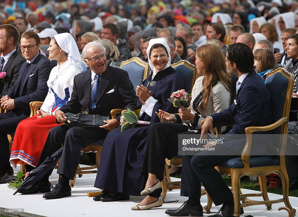 Prince Daniel, Duke of Vastergotland, Crown Princess Victoria of Sweden, King Carl XVI Gustaf of Sweden, Queen Silvia of Sweden, Princess Madeleine from Sweden, Duchess of Halsingland and Gastriklandand Prince Carl Philip of Sweden attend an event celebrating Crown Princess Victoria's 34th birthday at Borgholm's Idrottsplats on July 14, 2011 in Borgholm, Sweden.