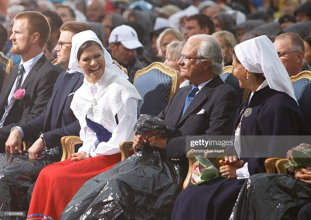 Prince Daniel, Duke of Vastergotland, Crown Princess Victoria of Sweden, King Carl XVI Gustaf of Sweden and Queen Silvia of Sweden attend an event celebrating Crown Princess Victoria's 34th birthday at Borgholm's Idrottsplats on July 14, 2011 in Borgholm, Sweden.