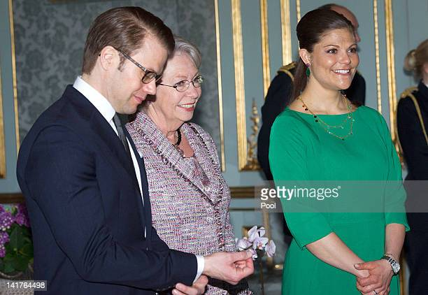 Prince Daniel Duke of Vastergotland his wife Crown Princess Victoria of Sweden and Princess Christina Mrs Magnuson visit the Royal Palace on March 23...