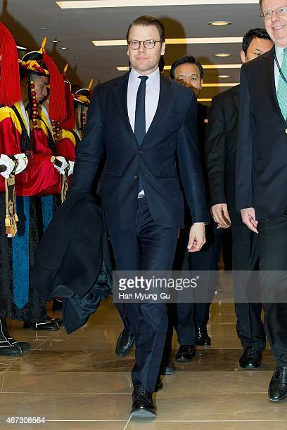 Prince Daniel Duke of Vastergotland is seen upon arrival at Incheon International Airport on March 23 2015 in Incheon South Korea HRH the Crown...