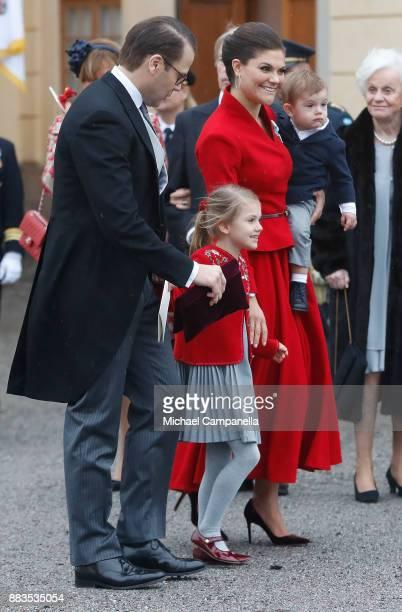 Prince Daniel Duke of Vastergotland Princess Estelle Duchess of Ostergotland Victoria Crown Princess of Sweden and Prince Oscar Duke of Skane leave...