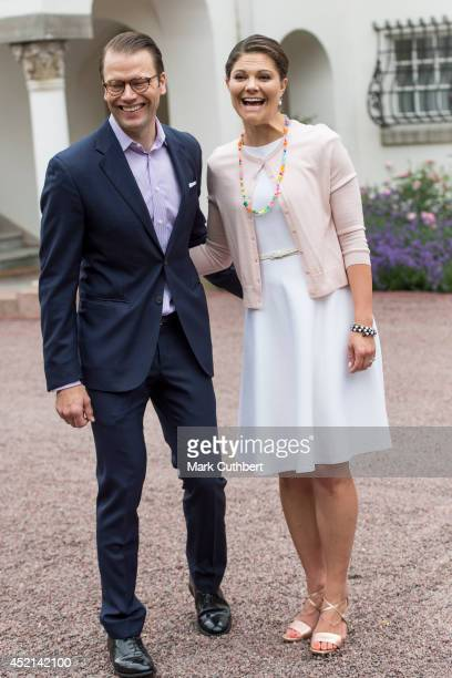 Prince Daniel, Duke of Vastergotland with Crown Princess Victoria of Sweden to celebrate her 37th birthday at Solliden on July 14, 2014 in Oland,...