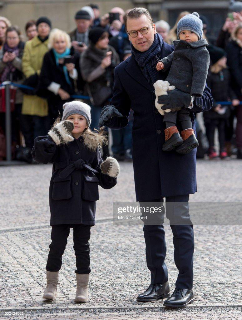 Prince Daniel, Duke of Vastergotland with Princess Estelle of Sweden and Prince Oscar of Sweden during celebrations for Crown Princess Victoria of Sweden name day at The Royal Palace on March 12, 2017 in Stockholm, Sweden.