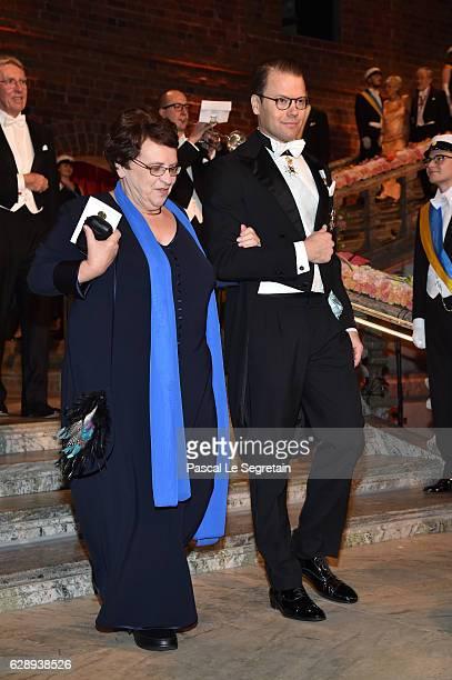 Prince Daniel of Sweden and a guest arrive at the Nobel Prize Banquet 2015 at City Hall on December 10 2016 in Stockholm Sweden