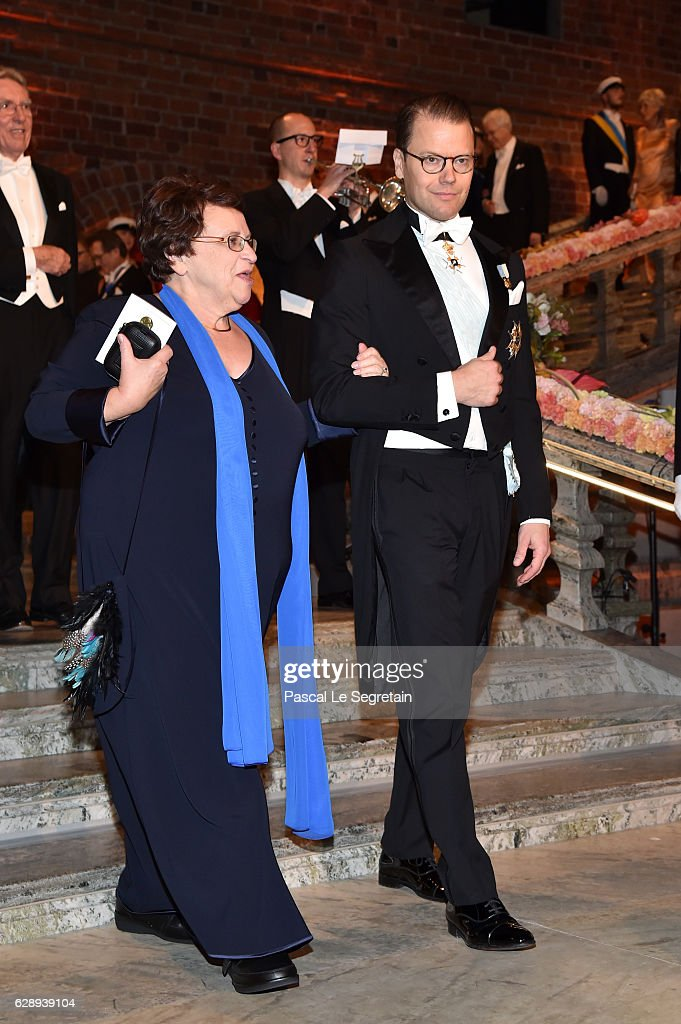 Prince Daniel of Sweden (R) and a guest arrive at the Nobel Prize Banquet 2015 at City Hall on December 10, 2016 in Stockholm, Sweden.