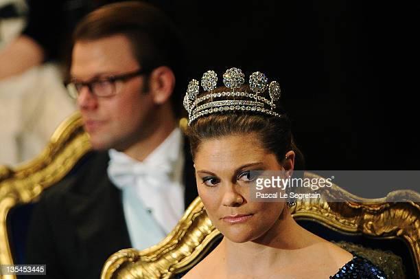 Prince Daniel of Sweden and Crown Princess Victoria of Sweden attend the Nobel Prize Award Ceremony at Stockholm Concert Hall on December 10, 2011 in...
