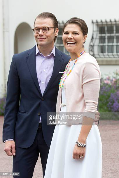 Prince Daniel of Sweden and Crown Princess Victoria of Sweden attend the Crown Princess's 37th Birthday celebrations at Solliden, Borgholm on July...
