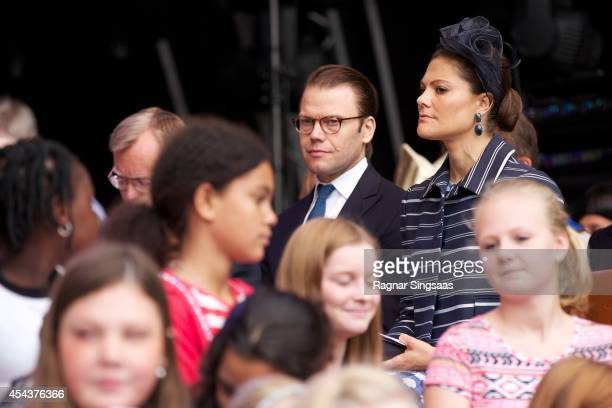 Prince Daniel of Sweden and Crown Princess Victoria of Sweden attend Celebrations To Mark the 1000th Anniversary of Skara Diocese on August 30 2014...