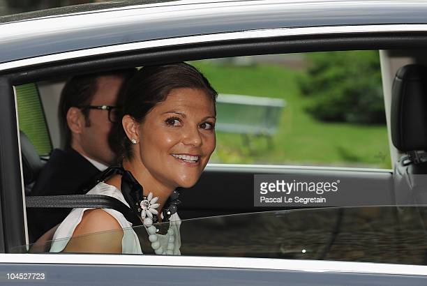 Prince Daniel of Sweden and Crown Princess Victoria of Sweden leave after their viste to the 'intenat d'excellence' on September 29 2010 in Cachan...